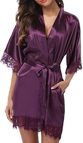 c03adff9b257 Giova Women s Lace Trim Kimono Robe Nightwear Nightgown Sleepwear Satin  Short Robe