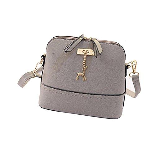New Women Messenger Bags Vintage Small Shell Leather Handbag Casual Bag (Gray)