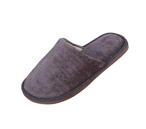 Remeehi - Zapatillas de estar por casa de Terciopelo para hombre gris