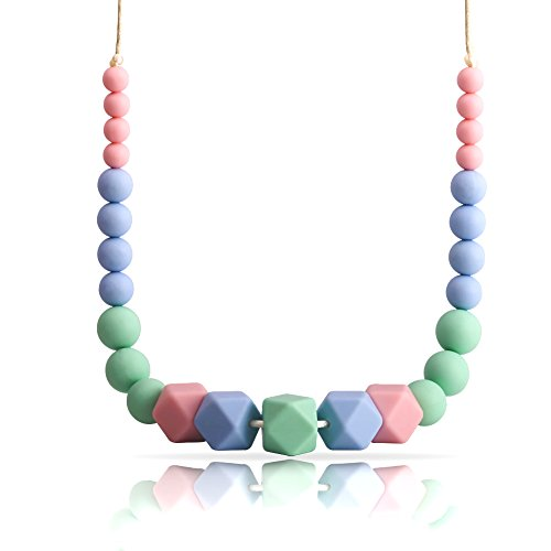 Teething Necklace for Mom to Wear and Baby Teething Necklace (Unisex),100% Food Grade Silicone Teething Beads, Nursing Necklace, Design in Elegant Colors with Exquisite Perfect for Giving As a Present