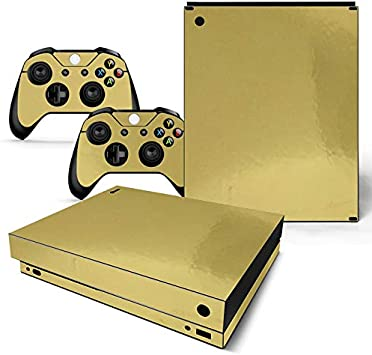 Mcbazel Pattern Series Skin Sticker for Xbox One X Console and Controller Gold Glossy: Amazon.es: Videojuegos
