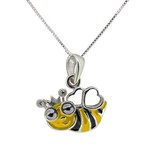 sl-silver Ensemble collier pendentif humoristique pour enfant Motif abeille Argent 925en boîte cadeau
