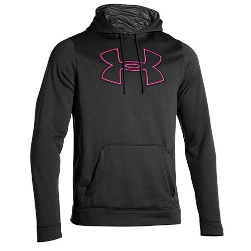 Under Armour Mens Storm Armour Fleece Big Logo Hoodie Large Black/Pink