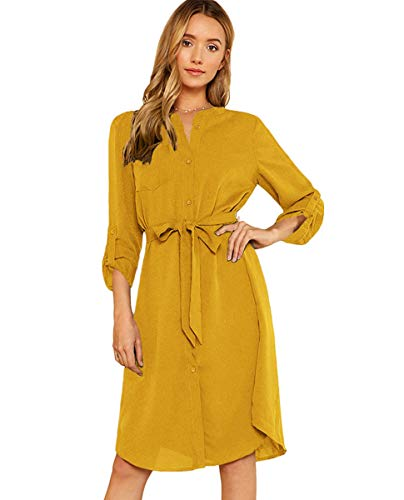 Milumia Women's Roll Tab Sleeve High Waist Belted Shirt Dress with Pocket Yellow ()