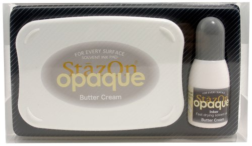 Tsukineko StazOn Opaque Un-Inked Pad and Inker, Butter Cream ()