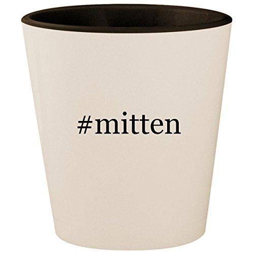 #mitten - Hashtag White Outer & Black Inner Ceramic 1.5oz Shot (Hi 5 Fingerless Glove)
