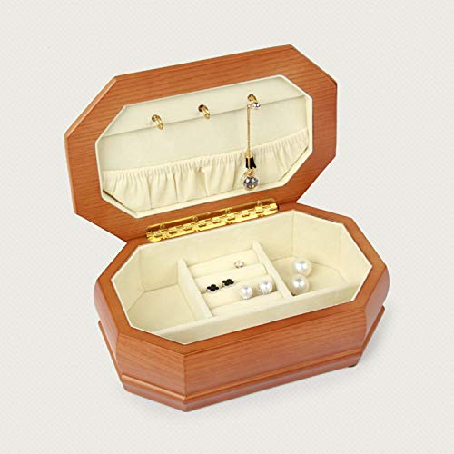 YANGLAN Solid Wood Octagonal Jewelry Box, Wooden Storage Box, High-End Jewelry Necklace Earrings Jewelry Box, Gift Box, 20×13×7CM ()
