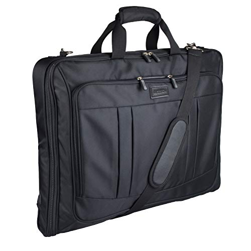 Foldable Carry On Garment Bag Fit 3 Suits, 44-inch Suit Bag for Travel and Business Trips with Shoulder Strap