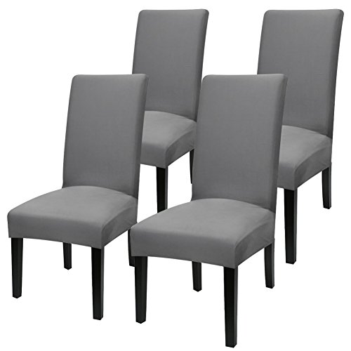 YISUN Stretch Dining Chair Covers Removable Washable Short Dining Chair Protect Cover for Hotel,Dining Room,Ceremony,Banquet Wedding Party (Dark Grey/Solid Pattern, 4 PCS) (Dining Dana)