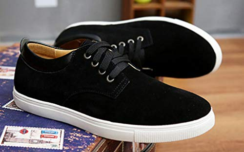 Femaroly Men's Skateboard Shoe Large Size Casual Suede Lace-up Breathable Leather Shoes Black 7.5M by Femaroly (Image #2)