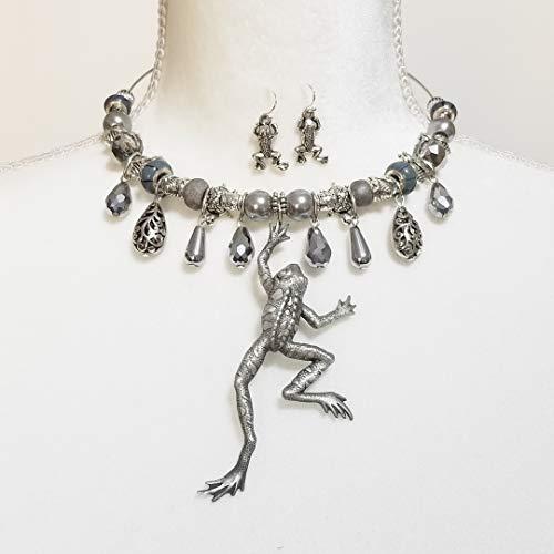 Big Vintage Signed J J Pewter Frog Pendant Necklace Earrings Bracelet One of a Kind