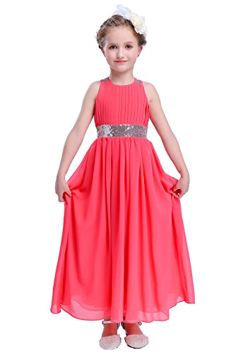 Happy Rose Bling Bling Sequins Chiffon Girls Dress Coral Size -