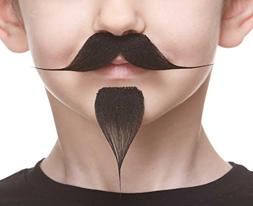 Mustaches Self Adhesive, Novelty, Small Fake Handlebar with a Goatee, Black Color -