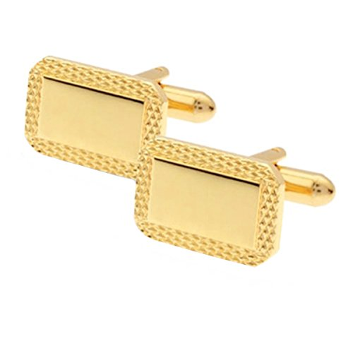 (London Badge and Button Company Rectangle Pattern Edge Cufflinks )