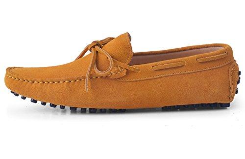 Hausschuhe Schuhe Fahren Halbschuhe Schnüren Mokassins Herren Bummler Casual Slipper Santimon Business Leder Gelb q4CFEwnzx