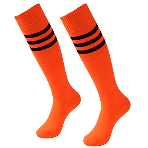 Long Soccer Socks, 3street Unisex Youth Striped Pattern Wicking Moisture Athletic Knee-High Football Cycling Running Compression Tube Socks for Valentine's Day Gift Orange 2 (Youth Nylon Pro Football Sock)