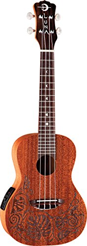 Luna Mahogany Series Mo'o Acoustic-Electric Concert Ukulele by Luna Guitars