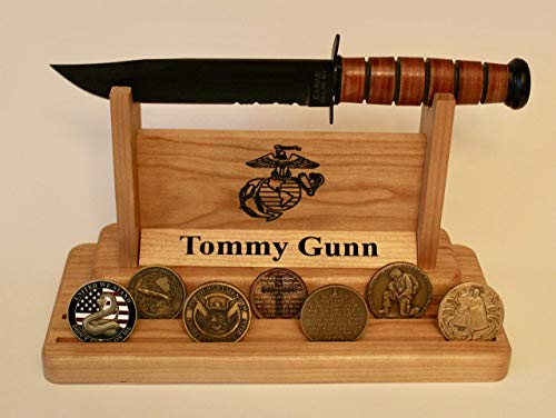 (Personalized Ka Bar Marine Knife and Challenge Coin Display Made From Solid Wood)