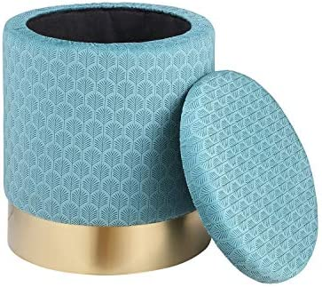 TMEE Velvet with Exquisite Pattern Round Ottoman,Bedroom Storage Ottoman Footrest Stool Seat Light Blue