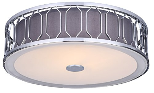 CANARM IFM573A15CH Crescent 2 Light Flush Mount with Grey Fabric Shade and Glass Diffuser, Chrome