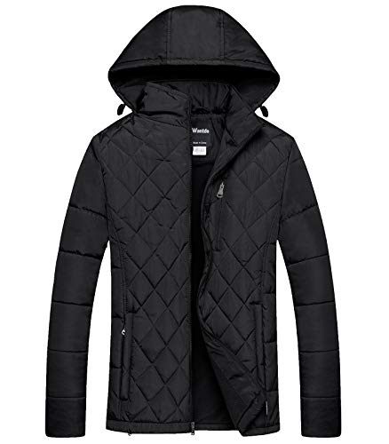 (Wantdo Mens Hooded Puffer Jacket Thicken Cotton Padded Coat Diamond Quilting Jacket Black X-Large)