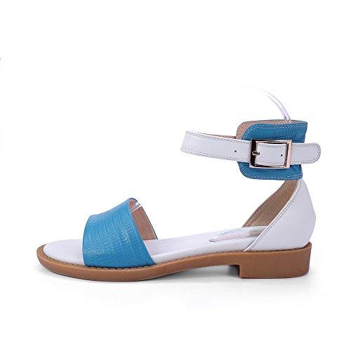 Allhqfashion Donna Materiale Morbido Open Toe Fibbia Assortiti Sandali Di Colore Blu Assortiti