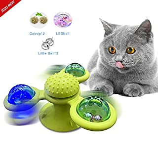 Pepiju Cat Windmill Toys Automatic for Indoors Kitten Windmill Catnip Balls Scratching Cat Hair Brush Molar Motorized Toys with Catnip LED Ball &Jingle Bell