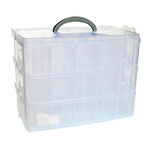 Stack Craft Storage Box - DJUNXYAN 3-Tier 30 Sections Transparent Stackable Adjustable Compartment Slot Plastic Craft Storage Box Organizer for Toy Desktop Jewelry Accessory Drawer Or Kitchen 4 Colors 3 Sizes(XL White)
