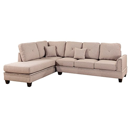Poundex F6513 Bobkona Bandele Sectional Set, Coffee 2 Piece Sectional Chaise