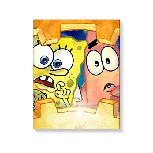 WYTCY Pintar Por Numeros - Bob Esponja Pintura Al Oleo De Lienzo De Lino, Pintura De Arte Moderno, Kit De Pintura De Bricolaje, Adecuado Para Adultos Y Principiantes40 50CM