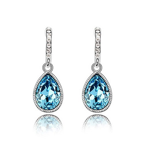 Alvdis Premium Water Drop Shaped Blue Crystal Earrings - Genuine Swarovski Crystal Elements (Blue Crystal Eyes Ear Cuff)