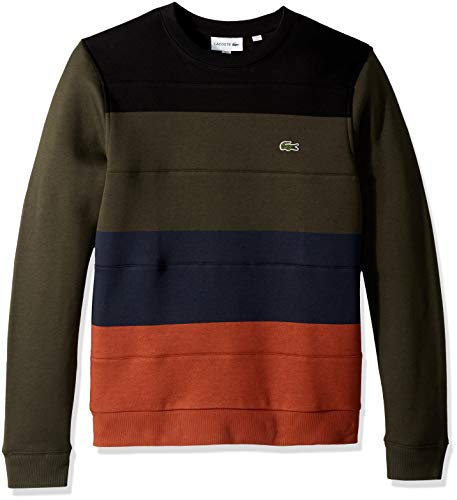 Lacoste Men's Crew Neck Colorblock Fleece Sweatshirt, Nevada Orange/Meridian BL, Medium