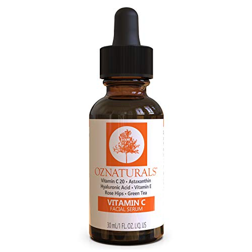 OZNaturals Vitamin C Serum for Face: Vitamin C Facial and Under Eye Serum with Hyaluronic Acid - Wrinkle Remover Serum to Even and Tone Skin - Anti Aging and Brightening Skin Care Serums - 1 Fl Oz