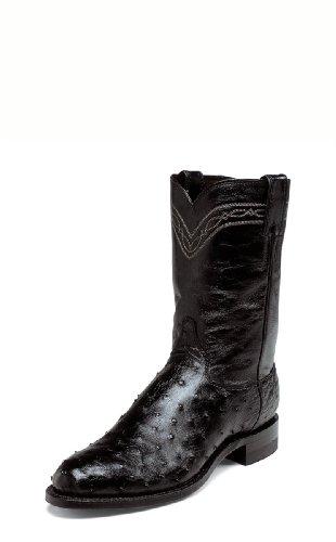 Justin Men's Full Quill Ostrich Roper Boot Medium Toe Black