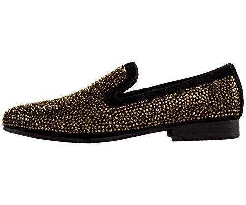 Asher Verde Da Uomo In Cristallo Oro E Pantofola Smoking In Camoscio Nero, Slip On Dress Scarpa, Stile Ag865