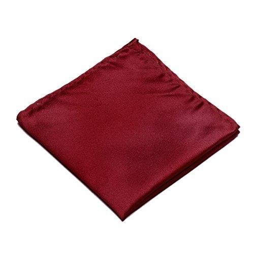 100% Silk Pocket Square Handkerchief by Murong Jun Great for Wedding or Tuxedo (10 Colors) (Bordeaux - The Bordeaux Color
