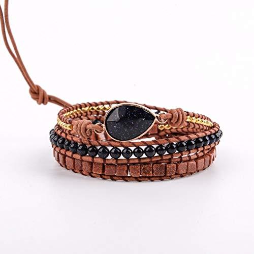 (SLMCLUB 7 Kinds Bracelet for Women Natural Stones Crystal Gilded Charm 3 Strands Wrap Bracelets Bohemian Leather Bracelet Jewelry Gifts)
