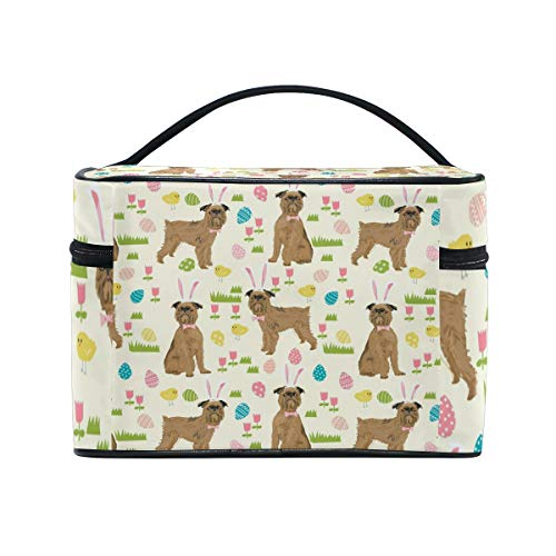 Brussels Griffon Dog Beige Cosmetic Bags Organizer- Travel Makeup Pouch Ladies Toiletry Train Case for Women Girls, CoTime Black Zipper and Flat Bottom