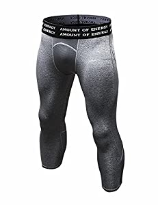 DZRZVD Men's Compression Running Yoga Training Workout Fitness 3/4 Leggings Tights YEL6050