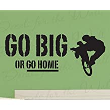 Wall Decal Letters Go Big or Go Home-Boy Mountain Bike BMX Biking Sports Themed Girl Kids Room Playroom-Quote Decal Wall Saying Sticker Vinyl Art Bedroom Decor