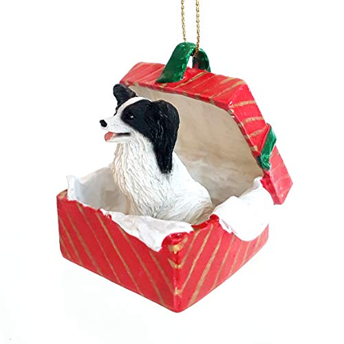 PAPILLON Dog Black sits in a Red Gift Box Christmas Ornament New RGBD47B