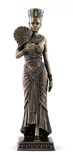 8.75 Inch Egyptian Queen Holding Fan Cold Cast Bronze Figurine