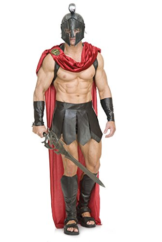 Charades Men's Spartan Warrior W/Accessories, Brown/Red, -