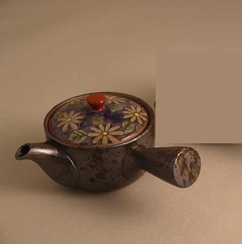 (Imari Pottery Japanese Kyusu Teapot Flowers with Purple Based Color)