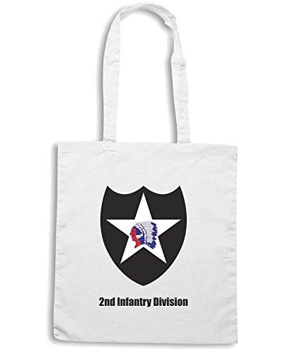 T-Shirtshock - Bolsa para la compra TM0330 2nd Infantry Division usa Blanco
