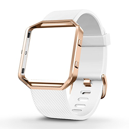 UMTELE Silicone Replacement Band with Rose Gold Frame for Fitbit Blaze Smart Fitness Watch, Small, - Rose Blaze