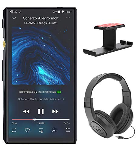 FiiO M11 PRO Android Hi-Res Lossless MP3 Music Player Bundle with Samson SR350 Over-Ear Stereo Headphones, and Blucoil Aluminum Dual Suspension Headphone Hanger