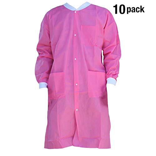(Premium Quality SMS Coat for Medical Professionals, Made of SMS Soft Fabric 3 Layer, Lab SMS Coat Static Free, Latex Free, Pack of 10, (Medium, Pink))