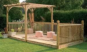 Diseño de bosque Pergola Ultima y diseño cilíndrico de madera Kit: Amazon.es: Jardín