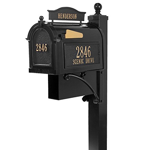 Whitehall Custom Ultimate Capitol Mailbox and Deluxe Side Mount Post with Newspaper Box - Black Personalized in Goldtone (Package Mailbox Deluxe Whitehall)